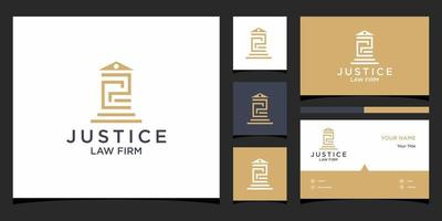 PC law logo templates and business card design Premium Vector