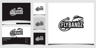 fishing logo templates and business card design Premium Vector
