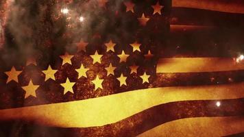 The American Flag Waves as Fireworks Burst