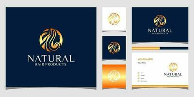 Face girl logo templates and business card design Premium Vector