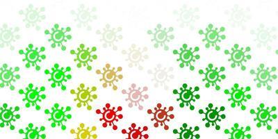 plantilla de vector verde claro, rojo con signos de gripe.
