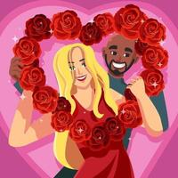 Happy Couple with Heart Shaped Flower Frame vector