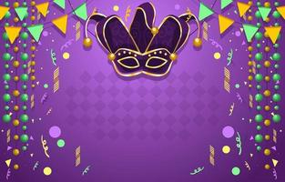 Fierce Mardi Gras Mask Confetti Background