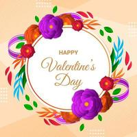 Happy Valentine's Day Flower In Paper Style vector