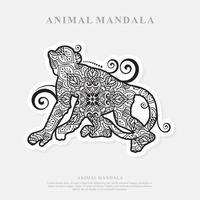 Monkey Mandala. Vintage decorative elements. Oriental pattern, vector illustration.