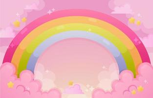 Beautiful Rainbow and Cloud background in Gradient Color vector
