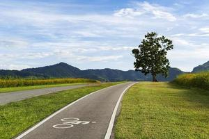 Bicycle lane on a hill photo