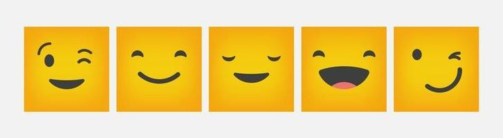Design Reaction Emoticon Square Set Flat - Vector