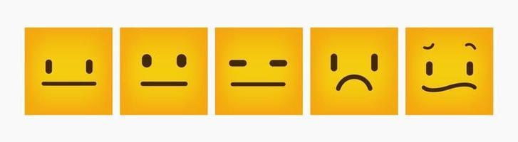 Reaction Emoticon Design Flat Square Set vector