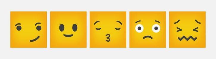 Reaction Emoticon Square Design Flat Set - Vector
