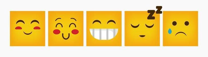 Emoticon Design Square Reaction Flat Set vector