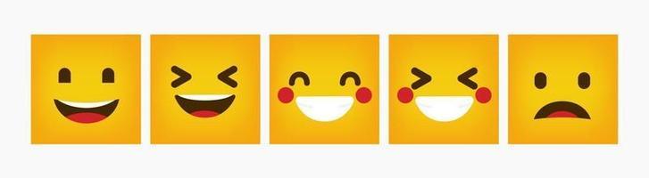 Reaction Emoticon Design Square Flat Set vector