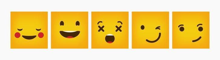 Design Square Reaction Emoticon Flat Set vector