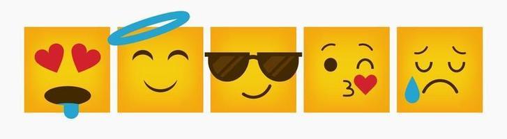 Design Reaction Square Emoticon Flat Set vector