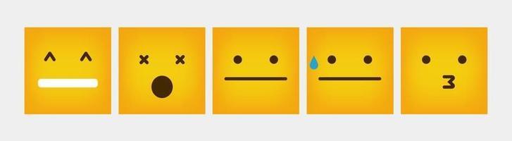 Design Reaction Square Emoticon Flat Set - Vector