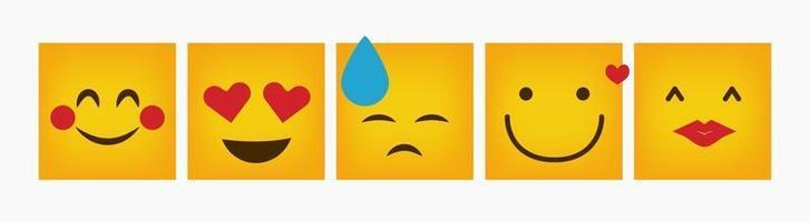 Reaction Square Emoticon Design Set Flat vector