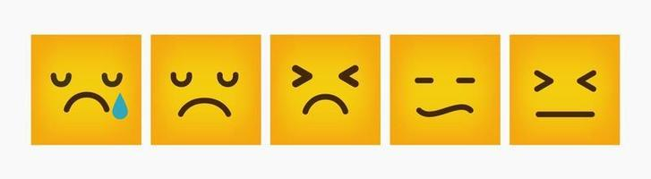 Emoticon Reaction Design Square Flat Set vector