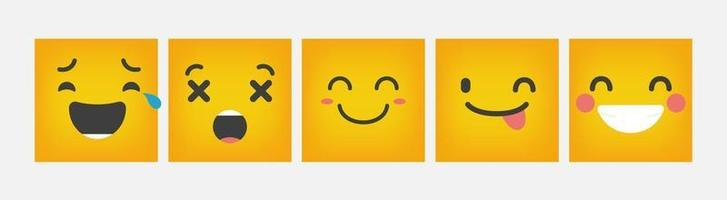 Reaction Emoticon Square Design Set Flat - Vector