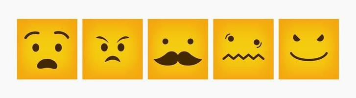 Reaction Square Emoticon Design Flat Set vector