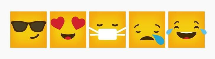 Design Square Emoticon Reaction Flat Set vector