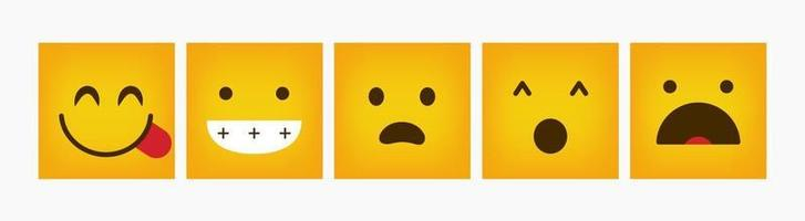 Design Reaction Emoticon Square Set - Vector