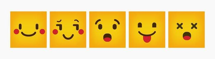 Emoticon Design Reaction Square Flat Set vector