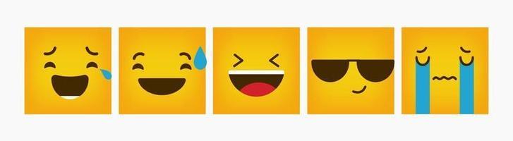 Design Square Emoticon Reaction Set Flat vector