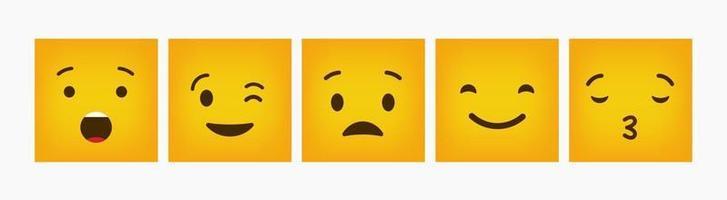 Emoticon Reaction Design Flat Square Set vector