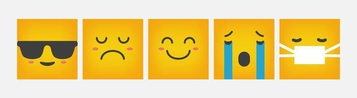 Emoticon Square Reaction Design Flat Set - Vector