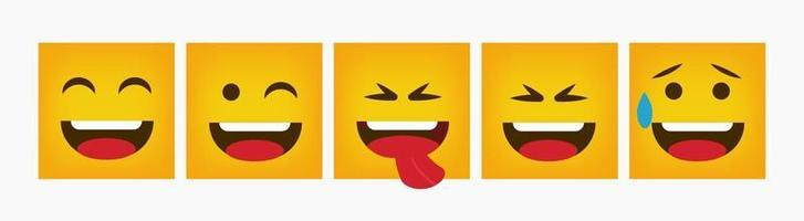 Reaction Design Square Emoticon Set Flat vector