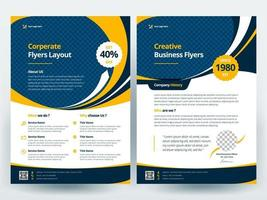 Yellow and blue business flyer layout template vector
