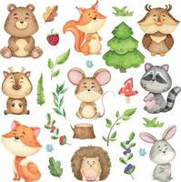 large set of forest animals and forest design elements, watercolor collection of wild animals, children's illustration for printing vector