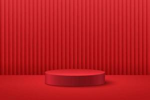 Abstract round display for product on website in modern design. Background rendering with podium and minimal red curtain texture wall scene, 3d rendering geometric shape dark red color. Oriental concept.