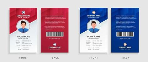Collection of Red, Blue and White Office ID Card Template. Abstract modern geometric overlap background design. Vector illustration