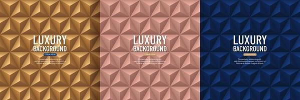 Set of luxury dark blue, rose gold and golden pyramid 3D pattern background. Abstract geometric texture design. Vector illustration