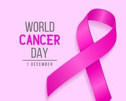 Fondo realista del día mundial del cáncer con cinta rosa. ilustración vectorial para el concepto del día mundial del cáncer de mama.