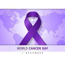 World Cancer Day purple background illustration with ribbon symbol and Text on World Map. Vector Illustration for World Breast Cancer Day concept.
