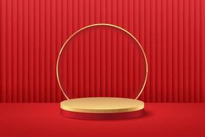 Abstract round display for product on website in modern design. Background rendering with podium and minimal red curtain texture wall scene, 3d rendering geometric shape red and gold color. Oriental concept.