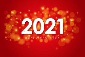 Happy New Year 2021 design template for greeting cards, poster, Banner, Vector illustration. Isolated on Red background.