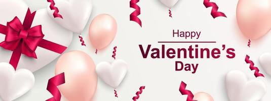 Happy Valentines day horizontal web banner. Realistic gift box with bow, heart vector