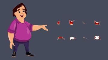 Cute boy character mouth animation set. Flat style vector illustration.