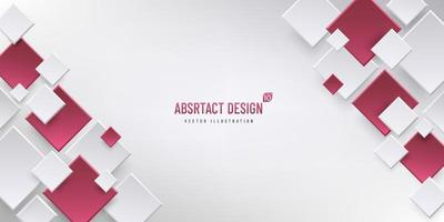 Abstract geometric background with copy space, Rectangle white, grey and red color pattern. Modern and minimal concept. You can use for cover, poster, banner web, Landing page, Print ad. Vector EPS10