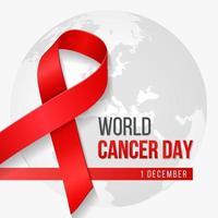 Fondo realista del día mundial del cáncer con símbolo de cinta y planeta tierra. ilustración vectorial.