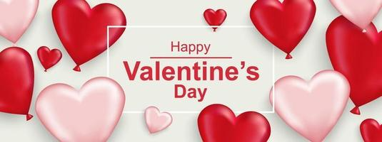 Happy Valentines day horizontal web banner. Realistic red and white heart vector