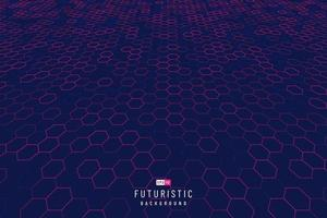 Abstract technology red hexagon perspective pattern on dark blue background. Futuristic dynamic grid pattern design. Modern simple geometric template. Vector illustration