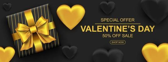 Valentines day sale web banner. Realistic gift box with golden bow and heart. vector