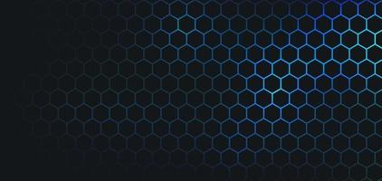 Abstract dark hexagon pattern on blue green neon color background technology style. Modern futuristic honeycomb concept. You can use for cover template, poster, banner web, flyer. Vector illustration
