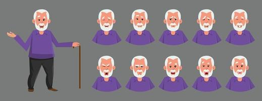 Old man character with various emotion or expression. different emotion or expression set for custom character design, motion or animation. vector