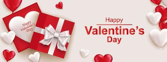 Happy Valentines day horizontal web banner. Realistic gift box with bow vector