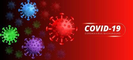 COVID-19. brote de coronavirus, epidemia de enfermedades virales, representación 3D de virus, ilustración del organismo. fondo con células de virus 3d realistas. Ilustración 3d vector